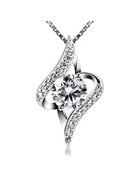 B.Catcher Women Necklace 925 Sterling Silver Gift Idea Necklace Cubic Zirconia Pendant, 18""