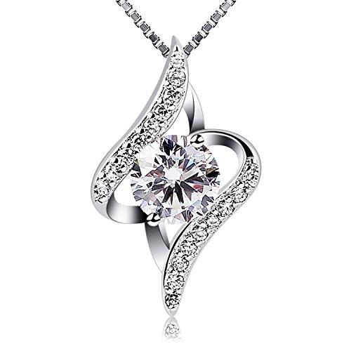 "B.Catcher Women Necklace 925 Sterling Silver Gift Idea Necklace Cubic Zirconia Pendant, 18"""