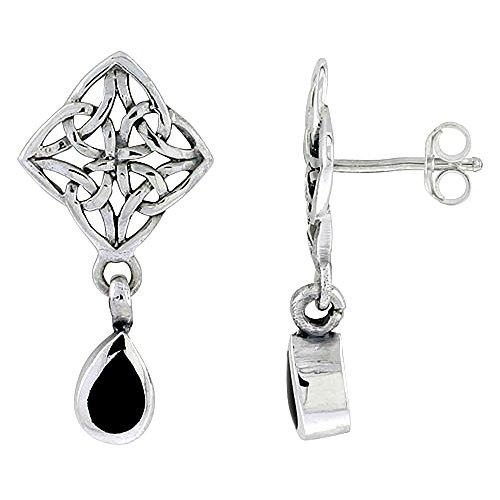 Sterling Silver Celtic Cross of Triquetras Post Earrings Teardrop Black Onyx,1 inch long