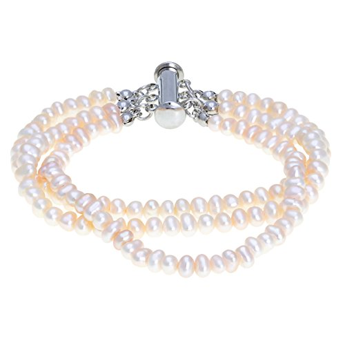 Lavari - Cultured Freshwater White Pearl 3 Row Bracelet Slide Lock Clasp 7.5
