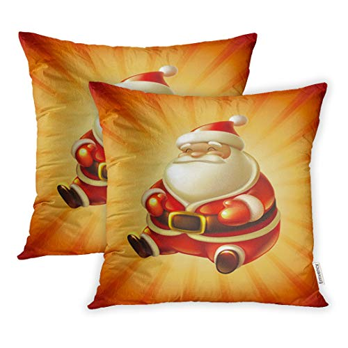 Emvency Set of 2 Decorative Throw Pillow Case Cushion Cover Red Christmas Santa Claus Hat Gold Blank 16x16 Inch Cases Square Pillowcases Covers Two Sides Print