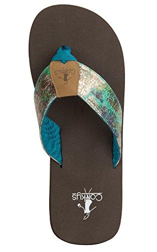 Women corkys, Stacie Stoff Tanga Sandaler Teal 8