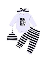MOUSYA Newborns Letter Print Short Sleeve Jumpsuit Romper Striped Outfits Set