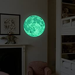 Homics Glow In The Dark Moon Wall Decals 30cm Luminous Sticker At Night, Perfect Ceiling or Wall Decor For Kids\' Bedroom (Green)