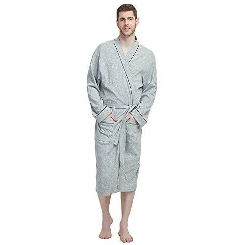 M&M Mymoon Men's Kimono Robe Long Comfy Bathrobe Cotton Loungewear Spa Cloth Robe (Grey Mel, S/M)