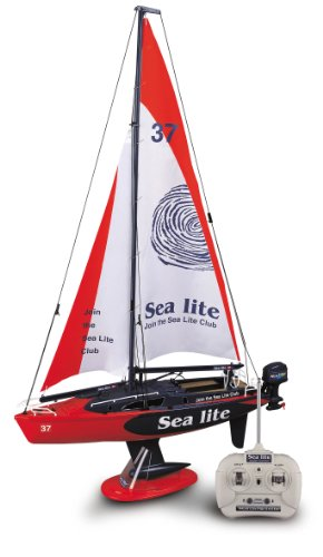Radio Controlled Sailboat (Golden Bright Full Function Radio Control Boat Vehicle, Red)