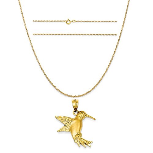 K&C 14k Yellow Gold Hummingbird Charm on a 14K Yellow Gold Carded Rope Chain Necklace, 16