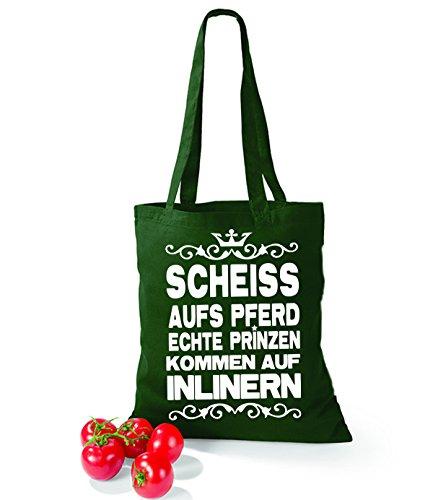 Artdiktat Baumwolltasche Scheiß auf´s Pferd - Echte Prinzen kommen auf Inlinern yellow bottlegreen XSD6rDHD