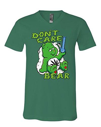 Care Bears Cotton T-shirt (Don't Care Bear Bong V-Neck T-Shirt Get High Marijuana Smoking Weed 420 Tee Green 3XL)