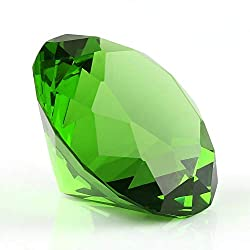 Light Green Diamond Shaped Glass Crystal Paperweight