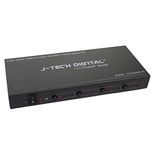 J-Tech Digital ProAV Ultra HD 4K HDMI 4X4 Matrix Switcher 4 Ports Inputs and 4 Port Outputs supports 4Kx2K@30HZ, HDCP, 3D & Deep Color, HDMI 1.4 Compliant -