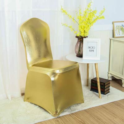 Maslin Metallic Gold Silver Spandex Chair Cover Shiny Bronze Gold Silver Colour Lycra Chair Covers Wedding Decoration - (Color: Metallic Gold, Specification: Flat Front Close)