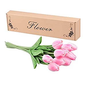 Artificial Tulips, Meiwo 10 Pcs Fake Tulips Flowers for Wedding Bouquets / Home Decor / Party / Graves Arrangement 3
