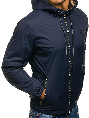 Men's Outdoor Camo 4818 Plain Casual Hood Military Transitional Zip Blue Ribbed Sport Jacket 4D4 BOLF Mix navy dFRfOqd