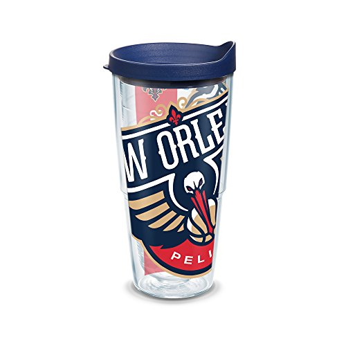 Tervis 1096797 NBA New Orleans Pelicans Colossal Tumbler with Wrap and Navy Lid 24oz, Clear by Tervis