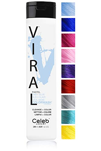 Celeb Luxury Viral Colorwash: Pastel Baby Blue Color Depositing Shampoo Concentrate, 10 Vivid and Pastel Colors, Stops Fade, 1 Quick Wash, Cleanse + Color, Sulfate-Free, Cruelty-Free, 100% Vegan