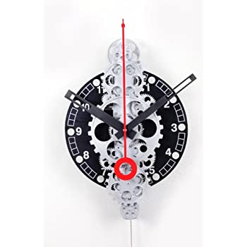 Maple S Moving Gear Wall Clock Spiral Ring Dial Black