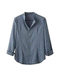 Minikoad_Men Coat Men Long Sleeve Shirts Tops, Male O-Neck Solid Casual Loose T-Shirt Blouse Tunic Business Shirt Tops