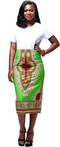 6e17a879e8 Jual Shenbolen Women's African Traditional Print High Waist Pencil ...