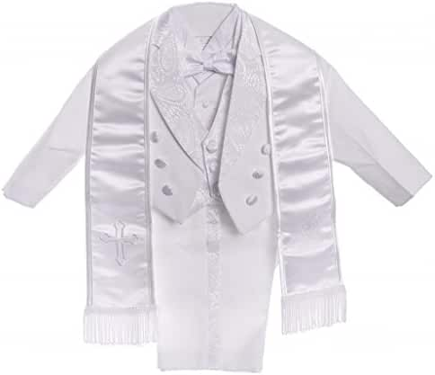 Baby Boys All White Christening Outfit, Tail Paisley Tuxedo Suit Design, Angel Baptism Embroidered Jacket By Caldore USA