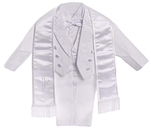 CALDORE USA Boy White Tail Paisley Design Christening Angel Embroidered Tuxedo Size 6M]()
