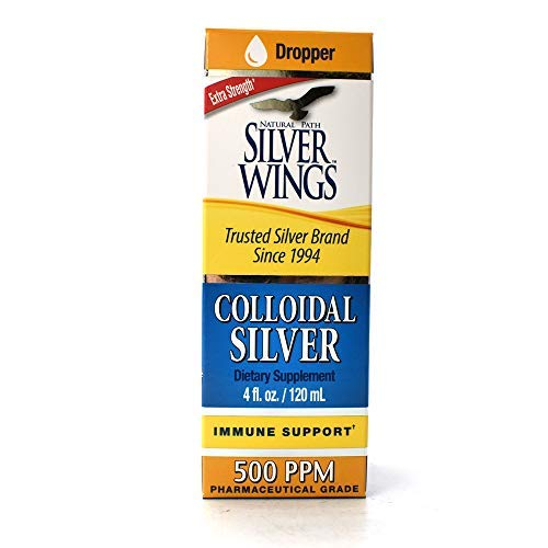 Natural Path Silver Wings Dietary Mineral Supplement, Colloidal Silver, 500 PPM, 4 fl. oz. / 120 ml by Natural Path Silver Wings