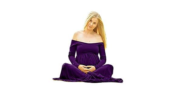 Vestido largo para embarazadas de manga larga y con hombros descubiertos, estilo informal y holgado, para sesiones de fotos azul morado M: Amazon.es: ...