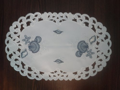 Placemat or Doily Embroidered with Blue Seashells on Bleached White Fabric, Size 27 x 13 inches