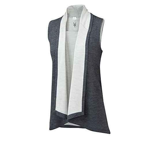 Ibex Lightweight Vest (Ibex Women s Dyad Shawl Vest Pewter Heather Birch M)