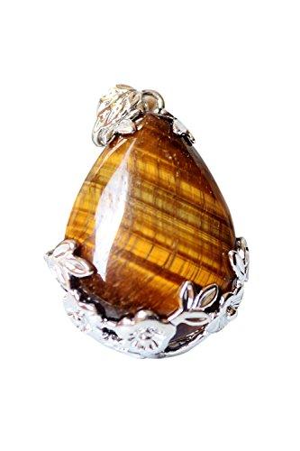 SODIAL Women Angel Tears Water Drop Semi-Precious Gemstones Pendant -Yellow Tiger's Eye