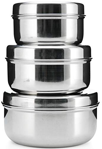 18/8 Stainless Steel 3-pack nesting Lunch Box and food storage container set - Eco friendly, Dishwasher Safe, BPA free, Great for snacks or food storage (10-24 fl oz) (Containers Friendly Food Eco)