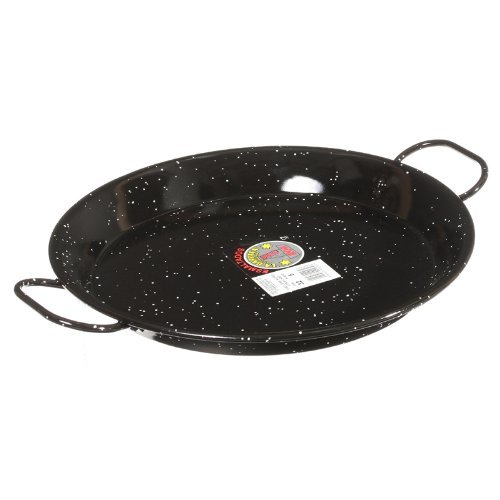 Garcima E-12GAR 12-Inch Enameled Steel Paella Pan, 30 cm, Small, Black