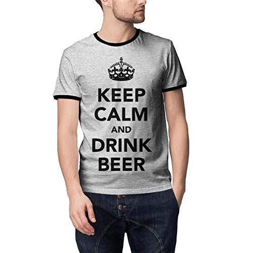 LHSCVJSEKL Keep Calm and Drink Beer Mens Casual T Shirt Loose Round Neck T-Shirts