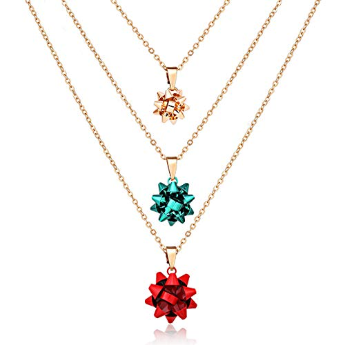 ALEXY 3PCS Christmas Necklaces X-Mas Gift Bow Pendant Necklaces Set Delicate Layered Chain Necklaces Party Gift for Women Girls (Gold+Red+Green) ()