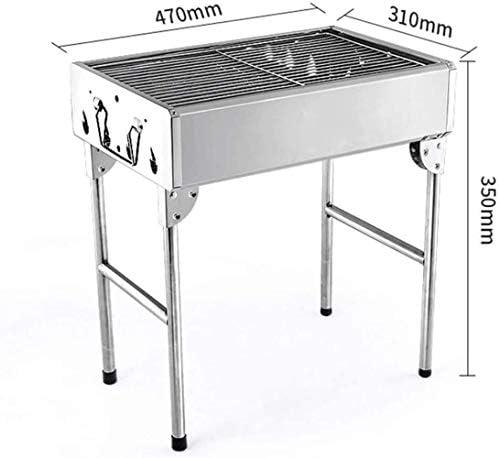 Barbecue HZY au Charbon en Acier Inoxydable Pliant Kits BBQ Portable for Cuisine de Plein air Camping Randonnée événement 470 * 310 * 350mm