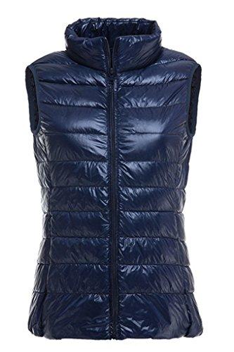 生産的疑わしい主張Micosuza レディース ダウンベスト 軽量 防風 立ち襟 収納袋 付き 防寒 暖かい 秋 冬 袖 なし ダウン ジャケッ