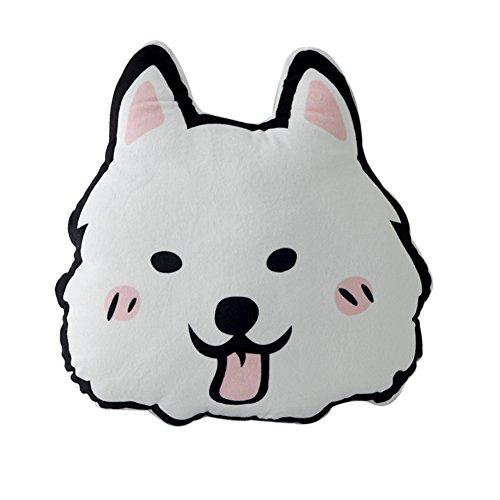 ChezMax Dog Plush Doll Stuffed Animal Toy Throw Pillow Back Cushion Gift for Bedroom Sofa Decoration Samoyed 15.8