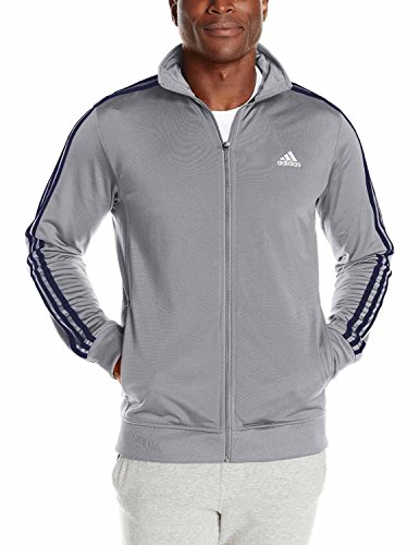 Adidas Mens Essential Tricot Jacket (Medium Grey Heather/Collegiate Navy, (Adidas Tricot Logo Jacket)