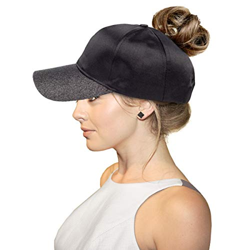 - FADA Black Glitter Ponytail Hat Baseball Cap with Ponytail Hole High Bun Hat for Women All Hat