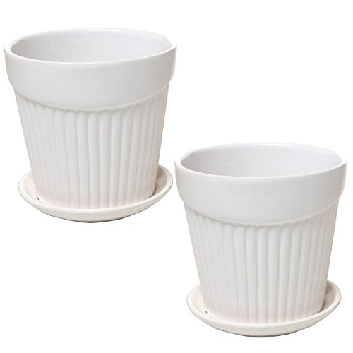 Set of 2 Small White Decorative Ribbed Ceramic Plant / Flower Planter Pot w/ Attached Saucer - MyGift (Ceramic Ribbed)