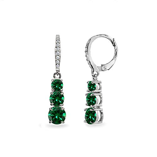 Sterling Silver Simulated Emerald and Cubic Zirconia 3-Stone Journey Dangle Leverback Earrings for Women Teen Girls