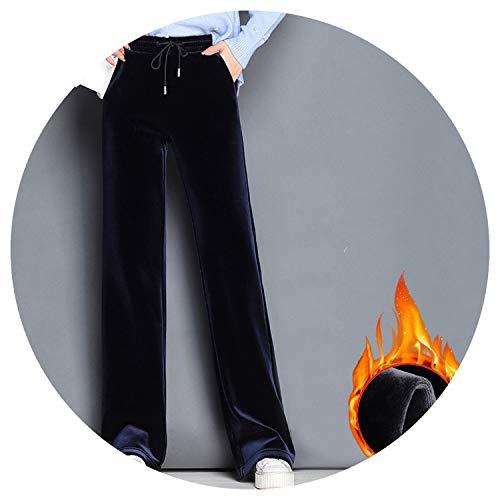 (Women Plus Velvet Double Layers Winter Pants Wide Leg Loose Black Dark Blue Thick Warm Trousers,Blue,XXL)