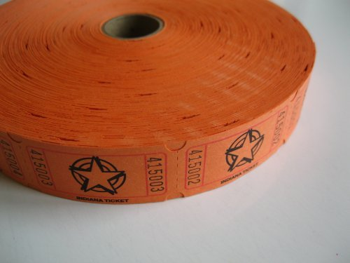1 X 2000 Orange Star Single Roll Consecutively Numbered Raffle Tickets by 50/50 Raffle Tickets