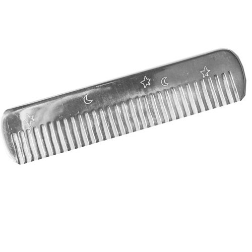Loralin Design Sterling Silver Hand Engraved Baby Comb, Moon and Stars