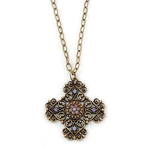 Victorian Style Bronze Tone Filigree Cross Pendant With Oval Chunky Chain Necklace - 44cm Length/ 6cm Extension