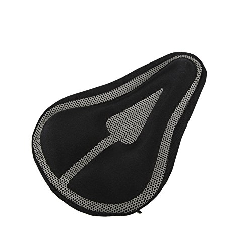 Gel Saddle Cover (Sprotsrain Triangular Groove cushion Saddle Bicycle Cover –Memory Foam Padded thicken Silicone Softness (Blue gray) (Black and)