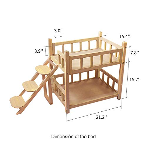 ROCKEVER Wooden Pet Bunk Bed Indoor,Dog Bed Small for Two Pets No Paint