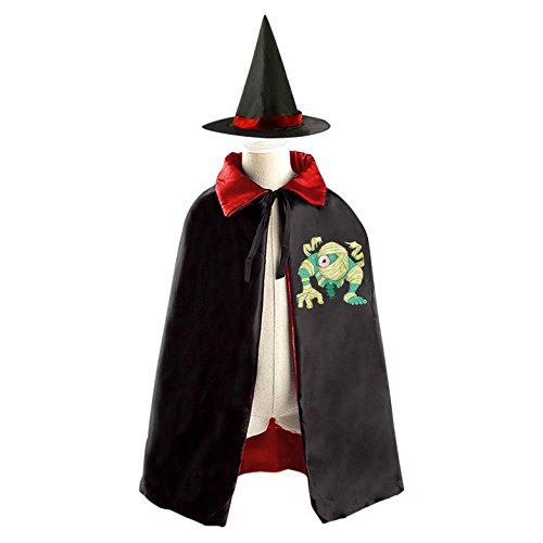DIY mummy eye Costumes Party Dress Up Cape Reversible with Wizard Witch Hat