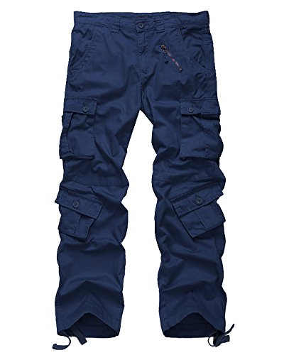 Men's Cotton Casual Military Army Cargo Camo Combat Work Pants with 8 Pocket #6058,Navy Blue,US 32 ()