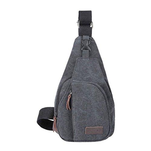 Secret paradise Hombre Satchel de lona pequeña bolsa de hombro bolsa de mensajero Viajes Senderismo Mochila Negro